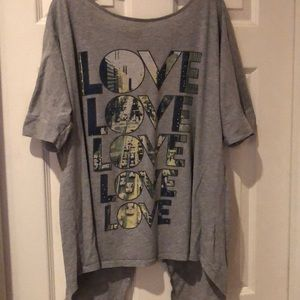 Lane Bryant love shirt with open back